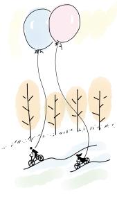 Luftballon, Wald und Rad